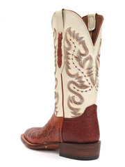 Lucchese CY1005.W8 Mens Cognac Burnish Caiman Belly Boots  Back View