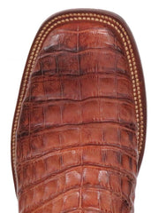 Lucchese CY1005.W8 Mens Cognac Burnish Caiman Belly Boots  Toe View