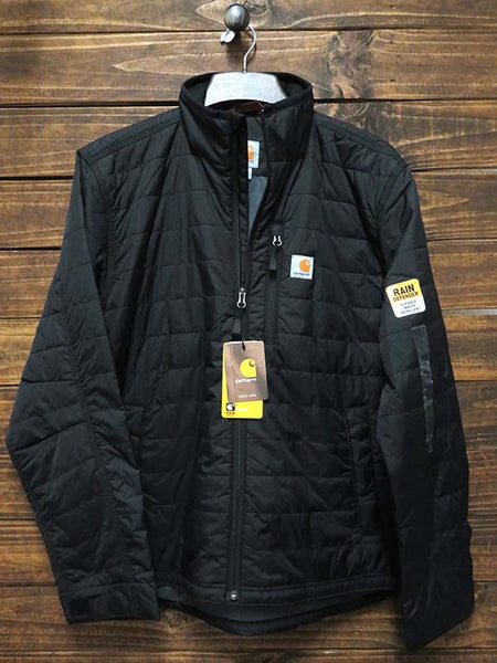Front view of Carhartt Mens Rain Defender Gilliam Jacket 102208 Black