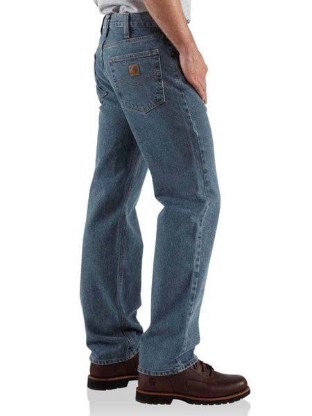 Carhartt Mens Deep Stone Traditional Fit Straight-Leg Jeans B480-DPS
