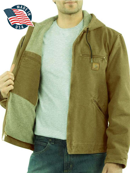 Carhartt Mens Sandstone Sherpa-Lined Brown Sierra Jacket J141-211