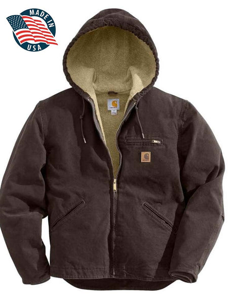 Carhartt Mens Sandstone Sherpa-Lined Dark Brown Sierra Jacket J141-DKB