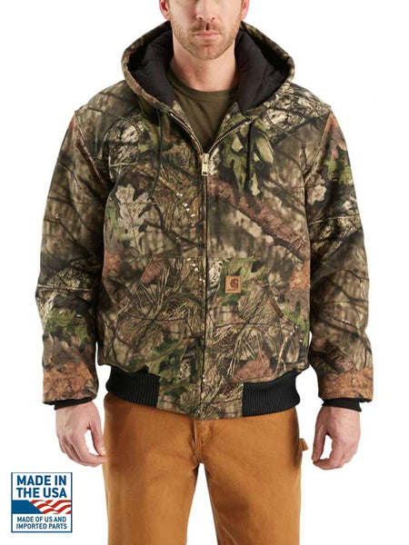 Carhartt J221 Mens Camo Quilted Flannel-Lined Active Jac Mossy Oak Front at JC Western Wear