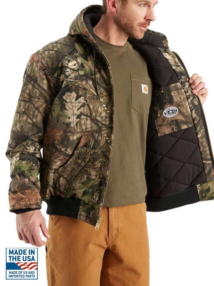 Carhartt Mens Quilted Flannel Lined Camo Active Jac J221