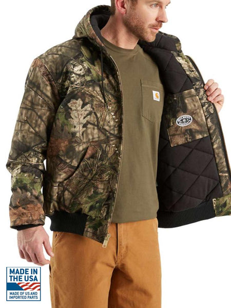 Carhartt J221 Mens Camo Quilted Flannel-Lined Active Jac Mossy Oak Inside