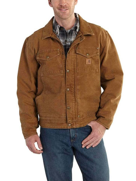 Carhartt Mens Berwick Fleece-Lined Sandstone Duck Jacket 101230 Brown