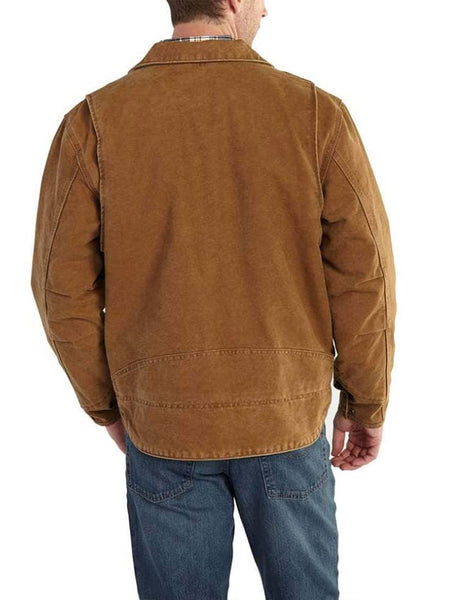 Back of Carhartt Mens Berwick Fleece-Lined Sandstone Duck Jacket 101230 Brown