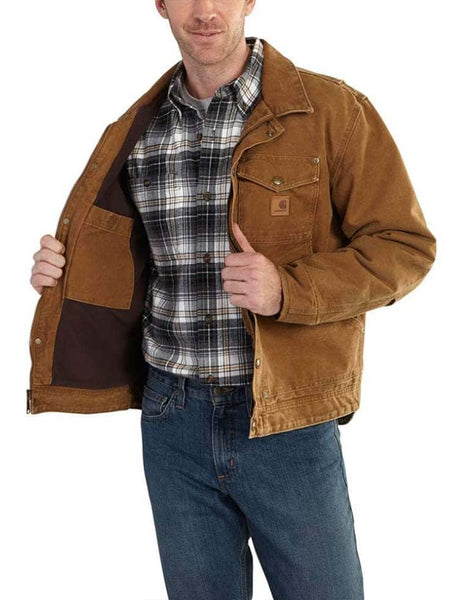 Front of Carhartt Mens Berwick Fleece-Lined Sandstone Duck Jacket 101230 Brown