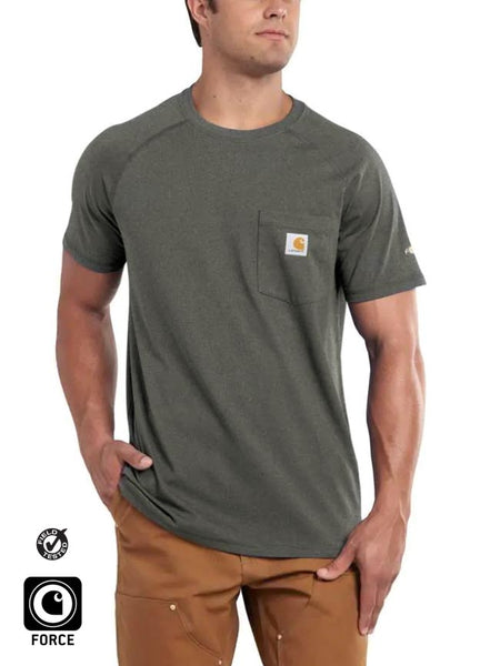 Carhartt 100410 Mens Force Cotton Delmont Short Sleeve T-Shirt Granite Heather Front