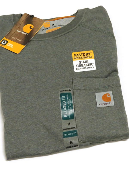 Carhartt 100410 Mens Force Cotton Delmont Short Sleeve T-Shirt Granite Heather Fold