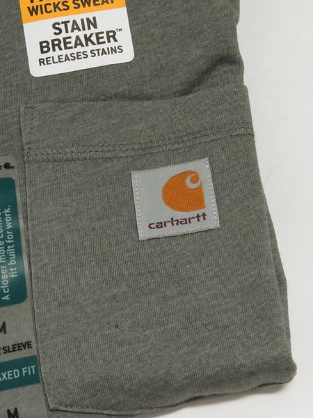 Carhartt 100410 Mens Force Cotton Delmont Short Sleeve T-Shirt Granite Heather Pocket