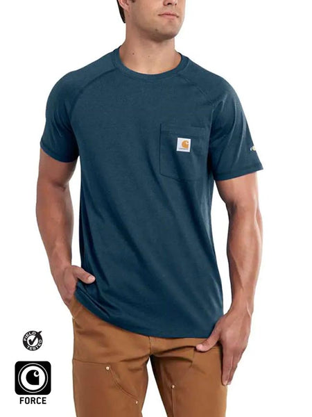 Carhartt 100410 Mens Force Cotton Delmont Short Sleeve T-Shirt Navy Front