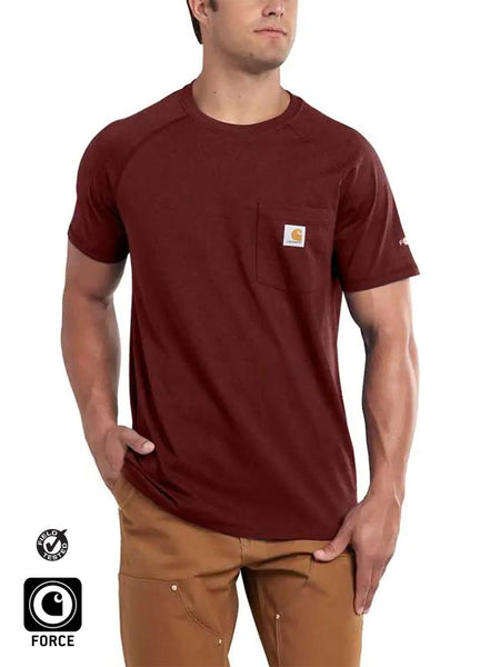 Carhartt 100410 Mens Force Cotton Delmont Short Sleeve T-Shirt Brown Heather