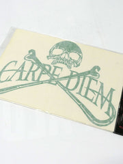Carpe Diem Pirate Skull Bumper Decal Sticker 10x7 Green