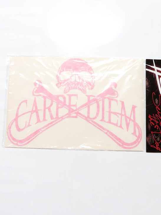 Carpe Diem Pirate Skull Bumper Decal Sticker 10x7 Pink