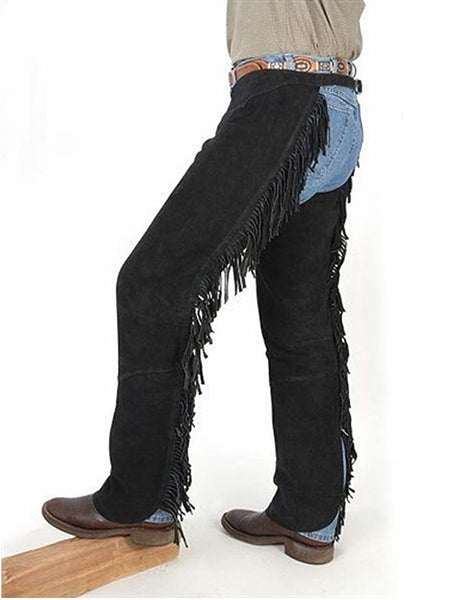 Mens Suede Leather Western Fringe Shotgun Chaps 63-88-BK - Black