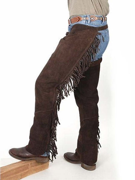 Mens Suede Leather Western Fringe Shotgun Chaps 63-88-BR - Brown