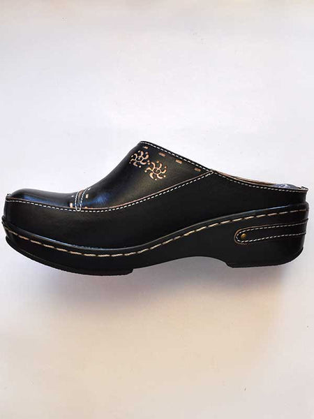Womens Spring Step Black L'Artiste Chino Slip On Clog - CHINO-B