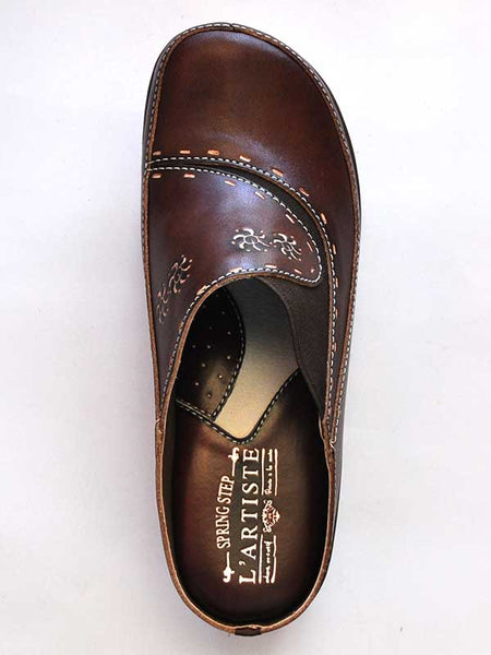 Womens Spring Step Brown L'Artiste Chino Slip On Clog - CHINO-BR