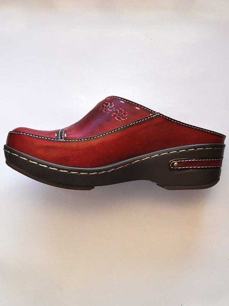 Womens Spring Step Chino Red Slip On Clog - L'Artiste Collection CHINO-R