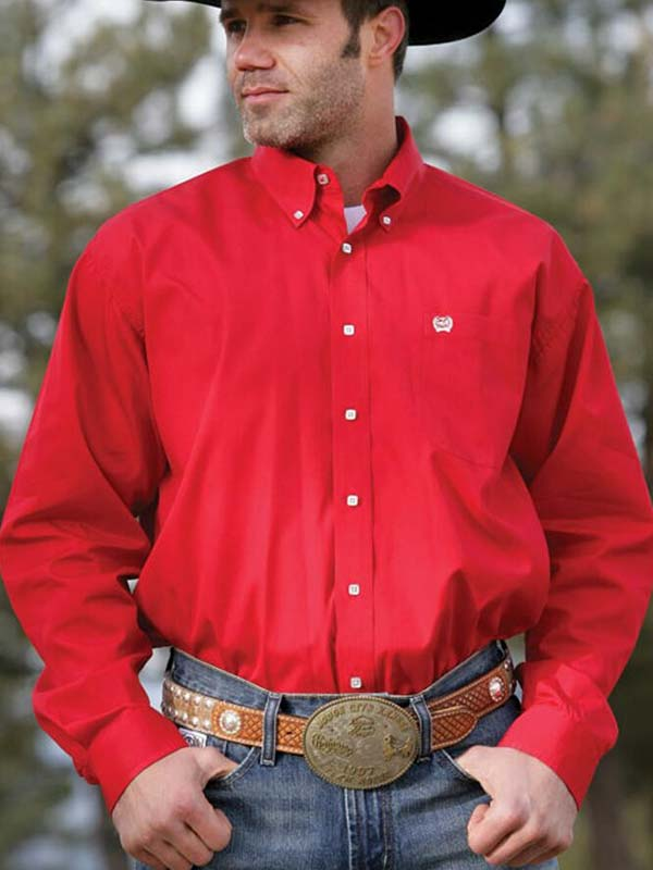 Men's Cinch Long Sleeve Solid Red Fine Weave Shirt MTW1103313-RED Cinch - J.C. Western® Wear