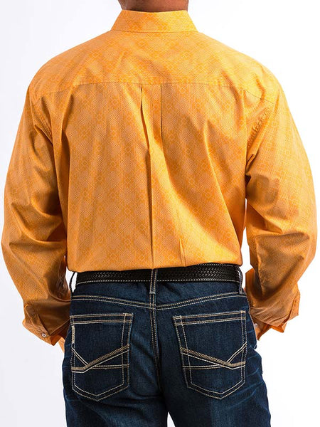 Cinch Mens Orange Geometric Print Button-Down Shirt MTW1104679