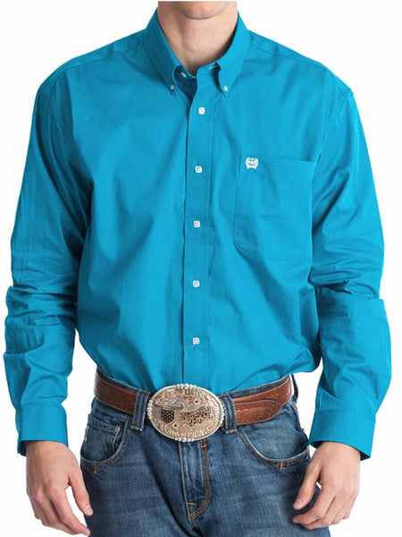 Men's Cinch Long Sleeve Single Pocket Solid Teal Shirt MTW1103800 Cinch - J.C. Western® Wear