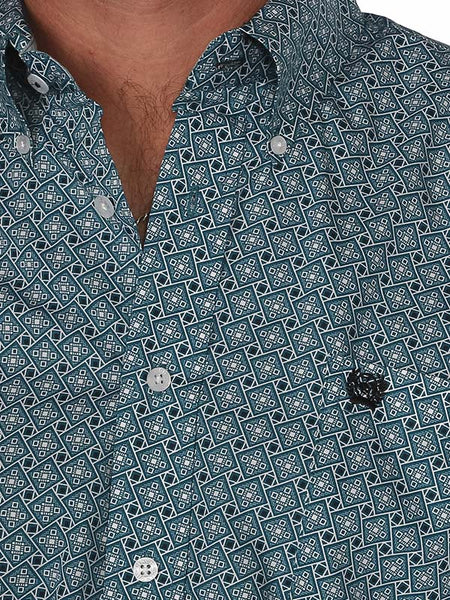 557d4e49e15 ... J.C. Western® Wear. Cinch Mens Box Print Teal LS Button Down Shirt  MTW1104508 Teal (D)