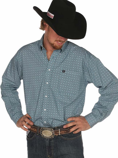 Cinch Mens Box Print Teal LS Button Down Shirt MTW1104508 Cinch - J.C. Western® Wear