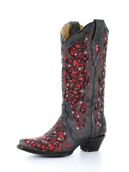 Corral A3534 Ladies Inlay Cowgirl Boots Black Red Glitter