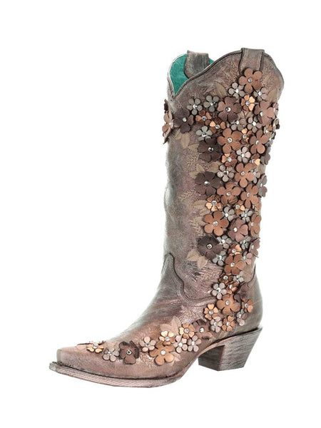 Corral Tobacco Floral Overlay Embroidery Crystal Studs Boots A3602