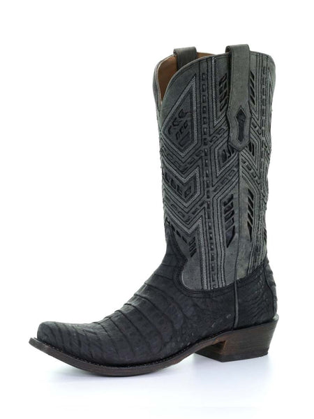 Corral Mens Caiman Grey Designer Stitch Western Boot A3633
