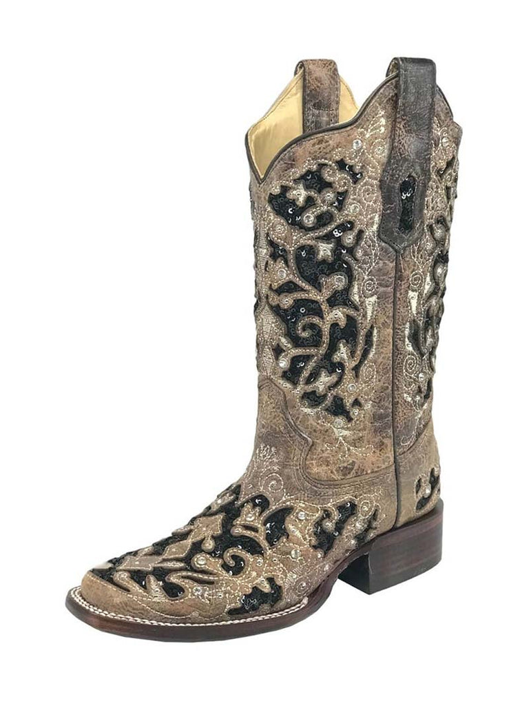 Corral Womens Floral Embroidered Sequin Inlay Square Toe Boots A3648