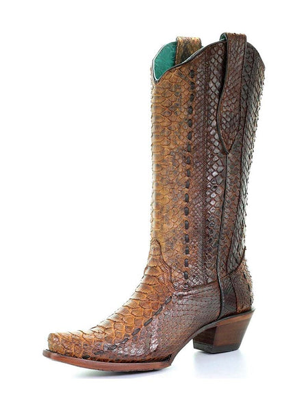 Corral Womens Full Python Woven Snip Toe Cowgirl Boot A3659 Front 3 Quarter