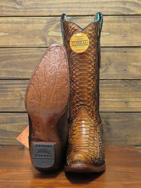 Sole of Corral Womens Full Python Woven Snip Toe Cowgirl Boot A3659