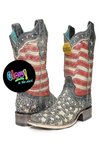 Corral Womens American Flag Glow-in-the-Dark Square Toe Boot A3758 A pair of Cowgirl Boots