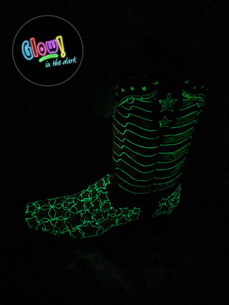 Corral Womens American Flag Glow-in-the-Dark Square Toe Boot A3758 A pair of Cowgirl Boots at JC Western Wear, Florida