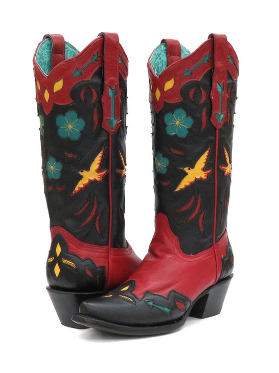 Corral A3781 Ladies Red Birds Embroidery Flower Inlay Snip Toe Boots Multi Color
