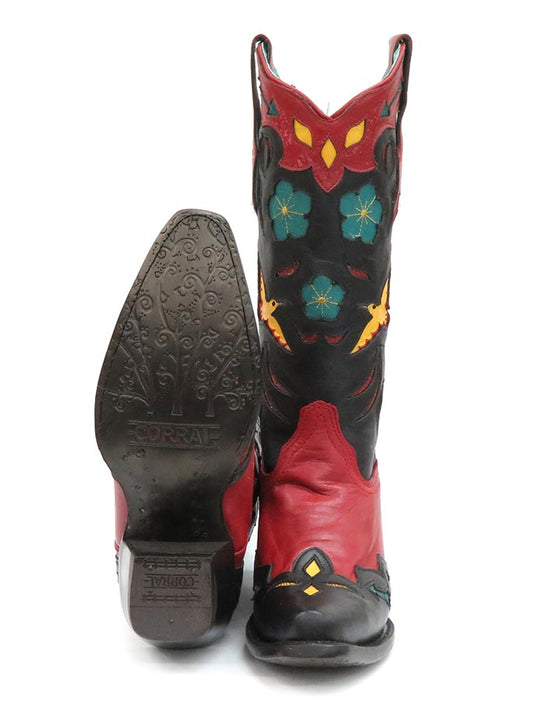 Corral Ladies Red Birds Embroidery Flower Inlay Snip Toe Boots A3781 Sole and Front view