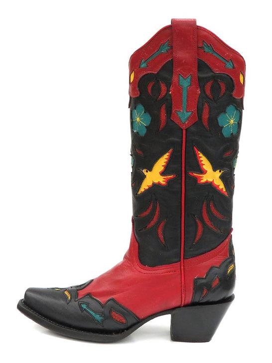 Corral Ladies Red Birds Embroidery Flower Inlay Snip Toe Boots A3781 Side View