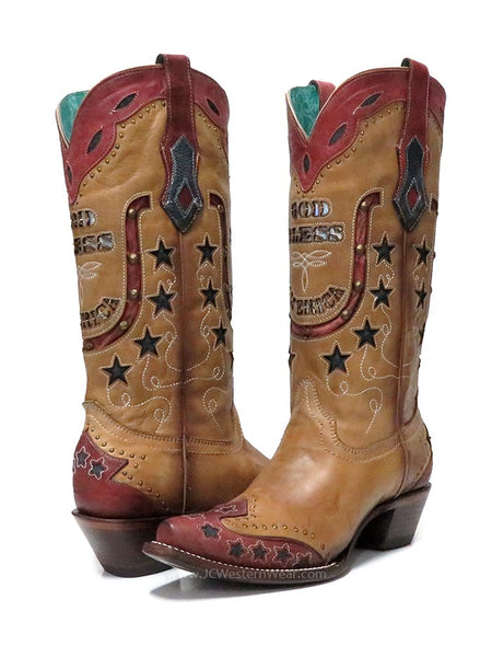 Corral Womens God Bless America Inlay Embroidery Retro Cowgirl Boot C3514 pair