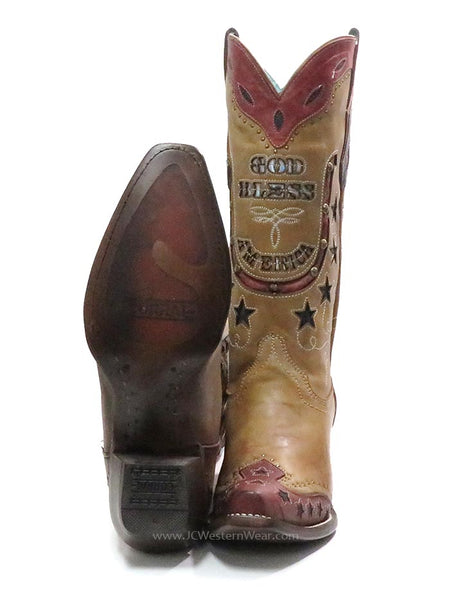 Corral Womens God Bless America Inlay Embroidery Retro Cowgirl Boot C3514 front and sole