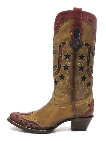 Corral Womens God Bless America Inlay Embroidery Retro Cowgirl Boot C3514 side