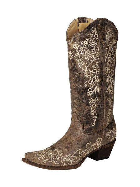 Corral A1094 Womens Crater Bone Embroidery Snip Toe Boots Brown