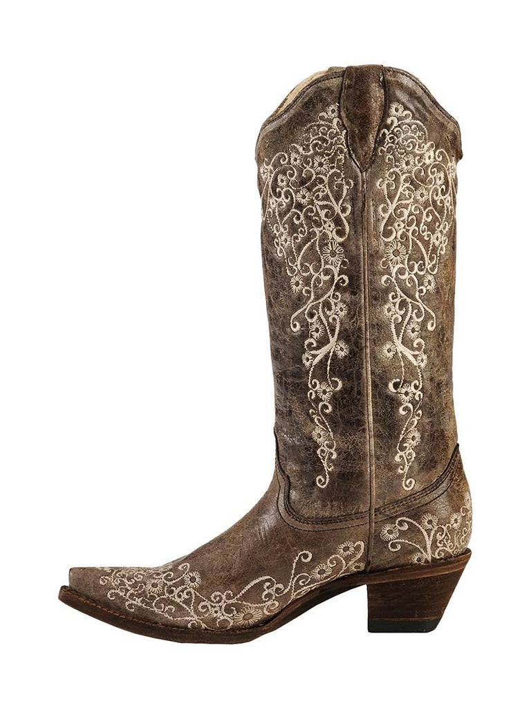 0a607e391 ... Corral Womens Brown Crater Bone Embroidery Snip Toe Boots A1094 ...