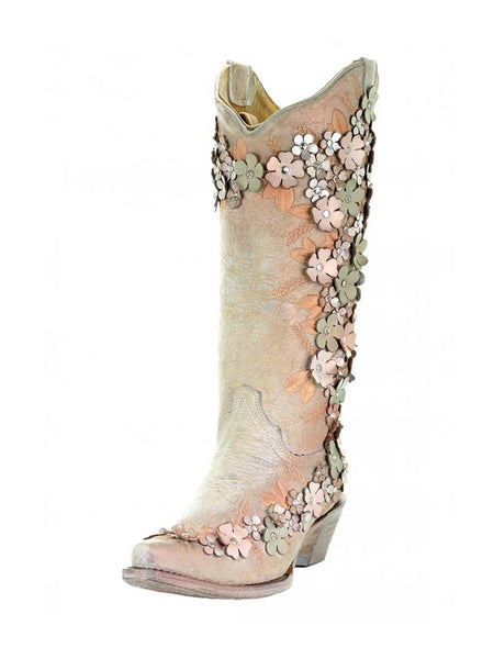 Corral Bone Mint Floral Overlay Embroidery Crystal Studs Boots A3599