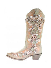Corral A3599 Floral Overlay Embroidery Crystal Studs Boots Bone Mint
