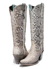 Corral Womens Natural Python Zipper Tall Boots A3789