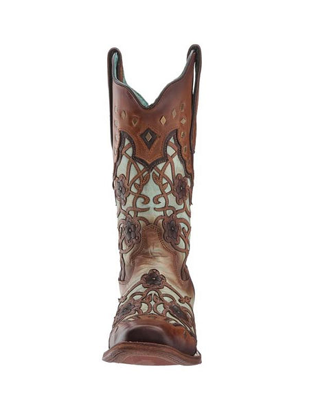 Corral Ladies Floral Mint Maple Cowgirl Boots C3224
