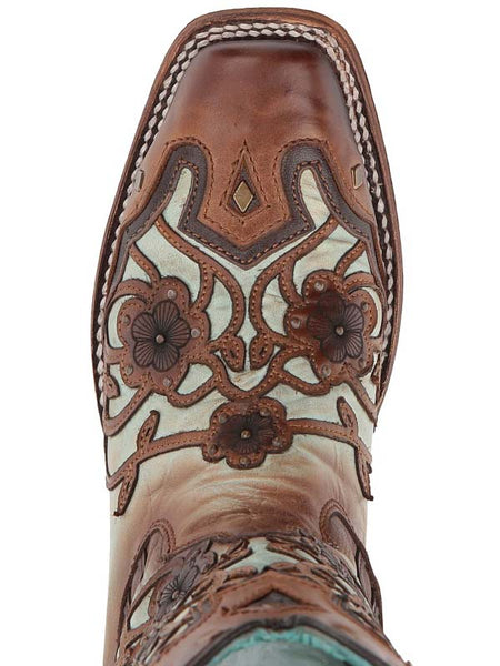 Corral C3224 Ladies Cowgirl Boots Floral Mint Maple